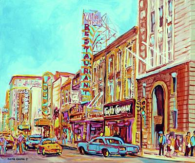 Montreal Memories Painting - Downtown Montreal by Carole Spandau
