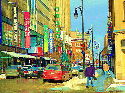 Montreal Winter Scenes Painting - Downtown Montreal Eatons Centre Complex Les Ailes Old Navy Rue Mcgill College City Scenes  C Spandau by Carole Spandau