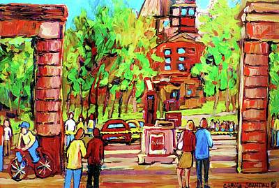 Roddick Gates Painting - Downtown Montreal Mcgill University Streetscenes by Carole Spandau
