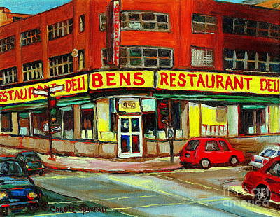 Montreal Memories Painting - Downtown Montreal Memories Ben's Restaurant Deli  Le Fameux Smoked Meat Produits By Carole Spandau by Carole Spandau