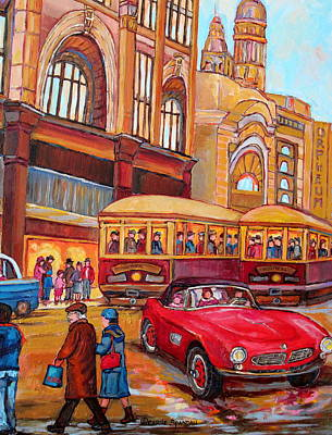 Montreal Memories Painting - Downtown Montreal-streetcars-couple Near Red Fifties Mustang-montreal Vintage Street Scene by Carole Spandau
