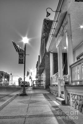 Downtown Munising In Black And White Art Print