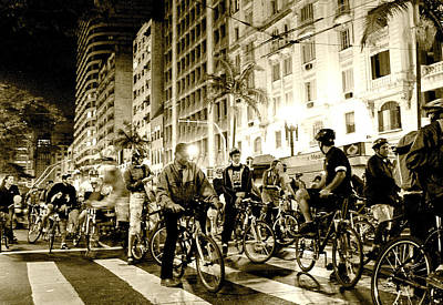 Downtown Wall Art - Photograph - Downtown Night Bikers by Carlos Alkmin