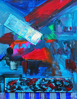 Painting - Downtown Night Lights by Walter Fahmy