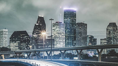 Downtown Of Houston In The Rain At Night Art Print by Onest Mistic