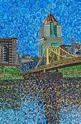 Roberto Clemente Painting - Downtown Pittsburgh - Roberto Clemente Bridge by Micah Mullen