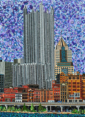 Burgh Painting - Downtown Pittsburgh - View From Smithfield Street Bridge by Micah Mullen