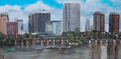 Ousting Painting - Richmond Va Skyline From Overtop Of The James River by Katie Adkins