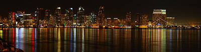 Downtown San Diego At Night From Harbor Drive Art Print