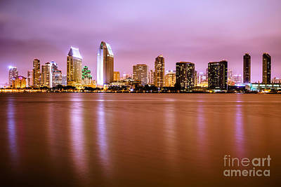 San Diego Bay Photograph - Downtown San Diego Skyline At Night by Paul Velgos