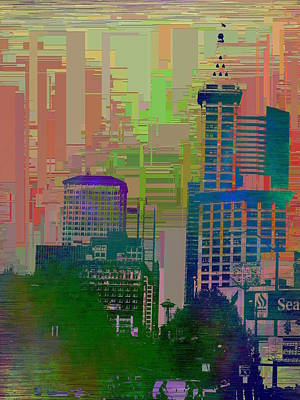 Digital Art - Downtown Seattle Cubed 2 by Tim Allen