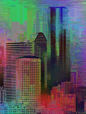 Digital Art - Downtown Seattle Cubed 3 by Tim Allen