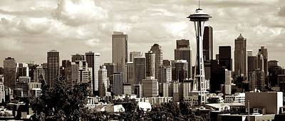Photograph - Downtown Seattle Panorama Sepia Tones by Ricardo J Ruiz de Porras