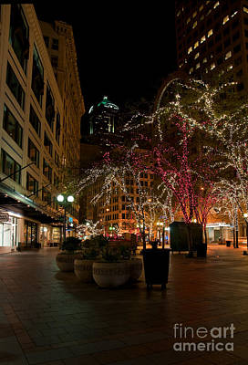Photograph - West Lake Downtown Seattle With Christmas Lights At Night Art Prints by Valerie Garner