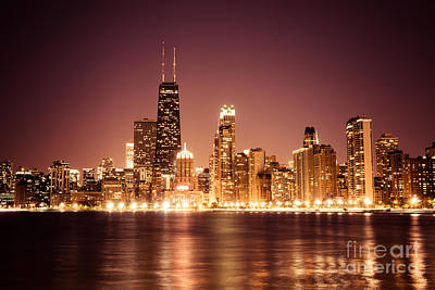 Downtown Skyline At Night Of Chicago Art Print
