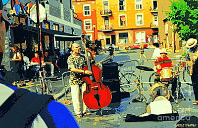 Rue Prince Arthur Painting - Downtown Street Musicians Perform At The Coffee Shop With Cool Tones On A Hot Summer Day by Carole Spandau