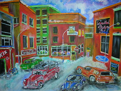 Litvack Painting - Downtown  Traffic by Michael Litvack