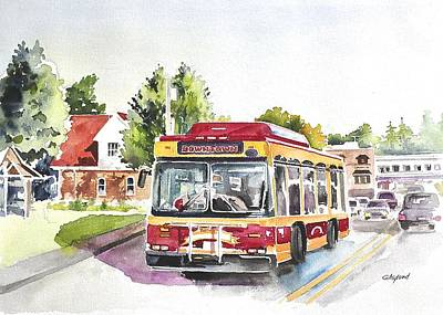 Painting -  Downtown Trolley by Gertrudes  Asplund