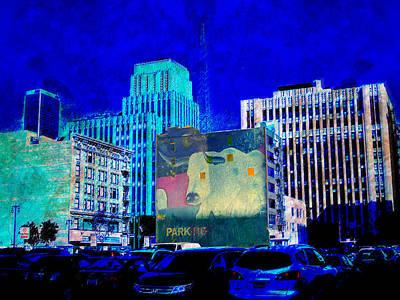 Streetscenes Mixed Media - Downtown Urban Bull by John Fish
