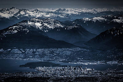 Downtown Vancouver And The Mountains Aerial View Low Key Art Print