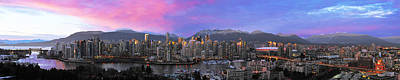Vancouver At Night Photograph - Downtown Vancouver Panorama by Wesley Allen Shaw