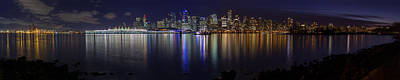 Downtown Vancouver Skyline By Night Art Print