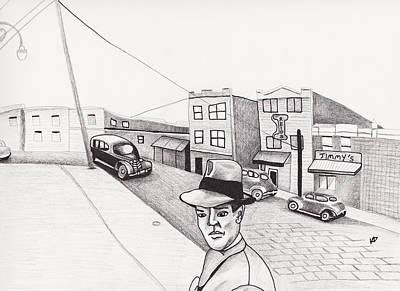 Streetscape Drawing - Downtown With Jimmy by Kevin Dellinger