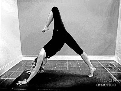 Photograph - Downward Facing Dog Variation In Black And White by Sally Simon
