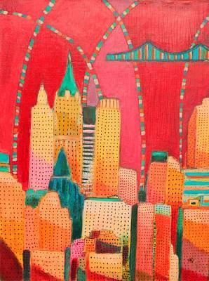 Chrysler Building Mixed Media - Dowtown Manhattan by Habib Ayat