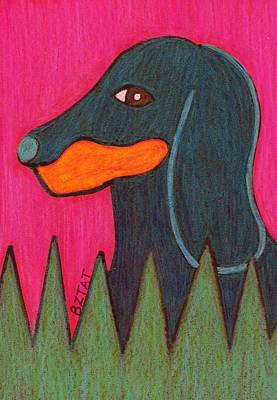Dachshund Art Drawing - Doxie Moxie Dachshund Portrait  by Artist BZTAT