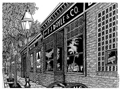 Pen And Ink Historic Buildings Drawings Drawing - Doyles Cafe by Conor Plunkett