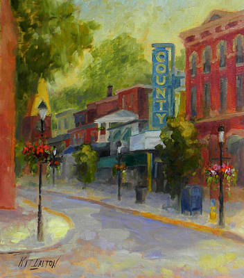 Movie Theater Painting - Doylestown County Theater by Kit Dalton