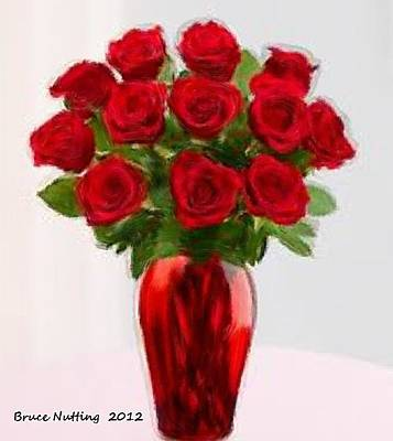 Roses Painting - Dozen Red Roses by Bruce Nutting