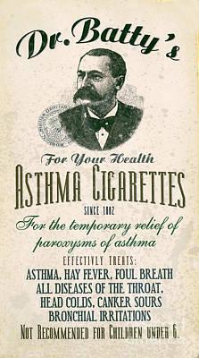 Cigarette Ads Photograph - Dr Batty's Asthma Cigarettes by Jon Neidert