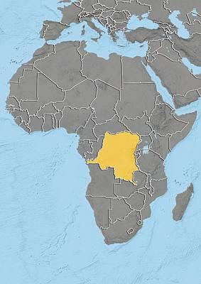 Dr Congo, Relief Map Art Print