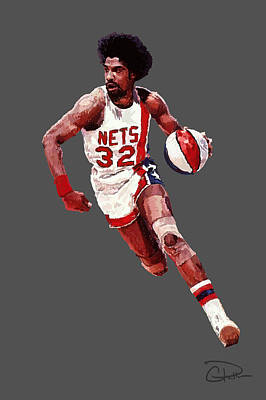 Dr. J Digital Art - Dr. J by Charley Pallos