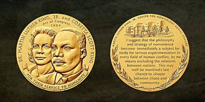 Dr Martin Luther King Jr And Coretta Scott King Bronze Medal Art Art Print by Movie Poster Prints