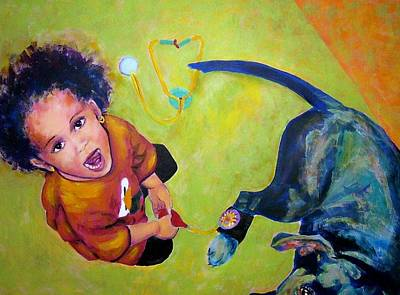 Painting - Dr. Nana And The Blue Dog by Jodie Marie Anne Richardson Traugott          aka jm-ART