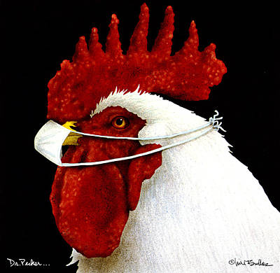 Rooster Painting - Dr. Pecker ... by Will Bullas