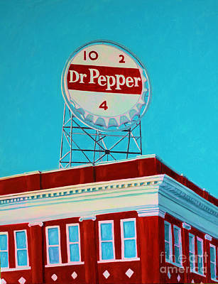 City Scape Painting - Dr Pepper Sign Roanoke Virginia by Todd Bandy