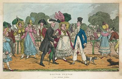 Plump Women Wall Art - Drawing - Dr Syntax Promenading In Hyde Park by Mary Evans Picture Library