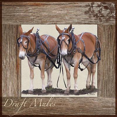 Draft Horses Digital Art - Draft Mules by Bethany Caskey