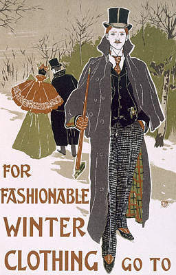 Draft Poster Design For A Winter Clothing Company Art Print by Louis John Rhead