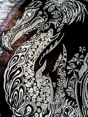 Drawing - Dragon 1 by Nathan Newman