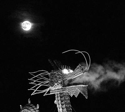 Photograph - Dragon And Moon Bw by C H Apperson