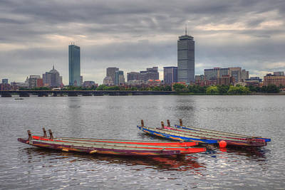 Photograph - Dragon Boats - Boston Skyline by Joann Vitali