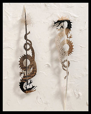 Dragon Mixed Media - Dragon Duo by Chris Maynard