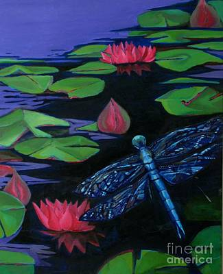 Lilly Pond Drawing - Dragon Fly - Botanical by Grace Liberator