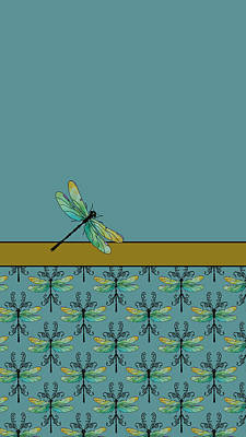 Damselflies Mixed Media - Dragon Fly Nouveau by Jenny Armitage