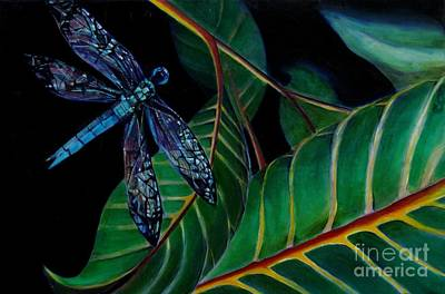 Painting - Dragon Fly Soaring - Botanical by Grace Liberator